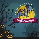 Vampire bat flying on the full moon on cemetery with horror pumpkin and dracula castle, trick or treat background vector Stock Photo