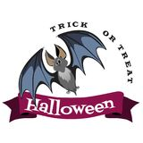 Vampire bat flying on the full moon on cemetery with horror pumpkin and dracula castle, trick or treat background vector Stock Photography
