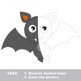 Vampire Bat to be colored. Vector trace game. Vampire Bat in vector colorful to be traced. Restore dashed line and color the picture. Visual game for children Royalty Free Stock Image
