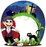 Vampire and  black cat on a cemetery Stock Photo