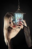 Vampire with bloody fangs. And hands Royalty Free Stock Photos