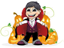 Vampire  boy and  Jack O Lanterns Stock Images