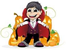 Vampire  boy and  Jack O Lanterns. Boy dressed as a vampire and  Jack O Lanterns on a white background Stock Images