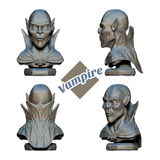 Vampire Bust in Four Projections. Bust of a vampire in four projections. Since the inscription on a white background. It can be used as a decorative element or Stock Image