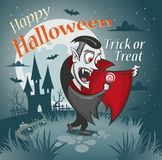 Happy halloween illustration. Vampire with a candy under the moon. royalty free illustration