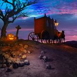 Vampire carriage. Under a lonely tree Stock Images