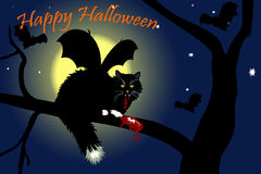 Vampire cat with dead mouse Stock Photos