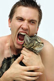The vampire and the cat Royalty Free Stock Photos