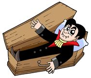 Vampire in coffin Stock Photo