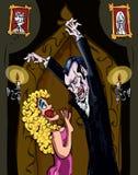 Vampire de dessin animé menaçant un femme blond Image libre de droits