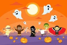 Vampire de Zobmbie de carte de bannière de monstres de Halloween illustration stock