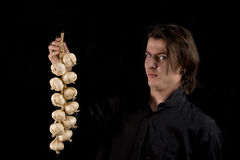 Vampire doesn't like the smell of garlic Royalty Free Stock Photo