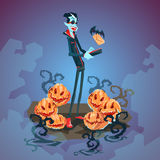 Vampire Dracula Using Cell Smart Phone Halloween Greeting Card Banner Royalty Free Stock Photo