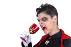 Vampire drinking blood. Young vampire drinking blood on white background Stock Photo