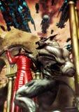 Vampire et bataille de loup-garou illustration de vecteur