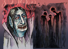 Vampire with evil ghosts beside him. Hand drawn illustration digitally colored Stock Image