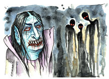 Vampire with evil ghosts beside him Stock Photos