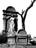 Vampire féminin se penchant contre la pierre tombale Image libre de droits
