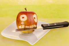 Vampire face in the apple Royalty Free Stock Photo