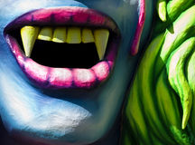 Vampire Fangs. Detail from a float at the International Carnival of Malta 2009 stock image