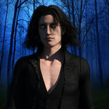 Vampire in the forest. 3d render of vampire walking in the night forest Stock Images