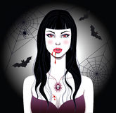 Vampire girl. Background. Vector Illustration Stock Image