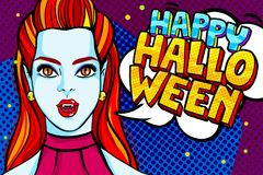 Vampire girl and Happy Halloween Message Stock Images