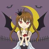 Vampire girl holding a fresh human heart Stock Image