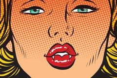 Vampire girl lip kiss Stock Images