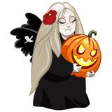 Vampire girl with pumpkin. Cute helloween vampire girl cartoon character holding pumpkin Vector Illustration