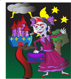 Vampire girl. A young vampire girl with a purple ribbon setting off to school. A castle can be seen in the background and her pet bat is flying beside her Royalty Free Stock Photography