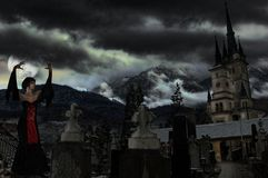 Vampire on a graveyard Royalty Free Stock Images