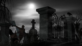 Vampire at a graveyard on a foggy night with full moon