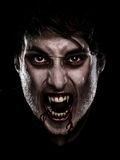 Vampire halloween man. Portrait of blood thirsty vampire man with blood dripping fangs - closeup Stock Photography