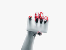 Vampire hand with empty card Stock Photo