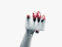 Vampire hand with empty card stock photo