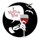 Vampire hand. Holding glass of wine Royalty Free Stock Photos