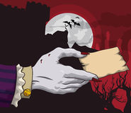Vampire Hand in a Spooky Background Holding Card, Vector Illustration. Vampire hand in a spooky red background holding a little stamp Royalty Free Stock Image