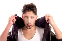 Vampire. Handsome vampire isolated in white background Stock Photography