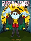 Vampire For Happy Halloween with background royalty free stock photo