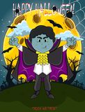 Vampire For Happy Halloween with background stock image