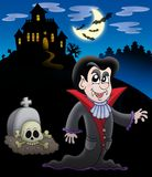 Vampire with haunted house vector illustration