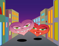 Vampire hearts walking down the street Royalty Free Stock Images
