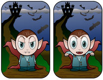 Vampire kid and Castle Stock Photo