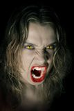 Vampire lady. Young and hungry vampire on black background Stock Photography