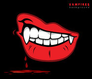 Vampire lips with fangs. Vector illustration of vampire lips with fangs Royalty Free Stock Photography