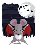 The Vampire Mouse. Vector eps file of a vector cartoon mouse dressed as a vampire for Halloween Stock Image