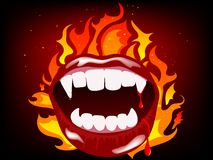 Vampire mouth. In fire background Stock Photos