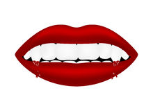 Vampire mouth with bloody teeth Stock Photos