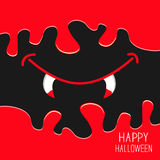 Vampire mouth with fangs. Flowing down blood. Halloween card. Spooky background Flat design. Royalty Free Stock Images